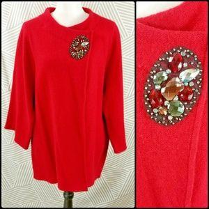 JM Womens Plus Size 2X Boxy Cardigan Sweater coat